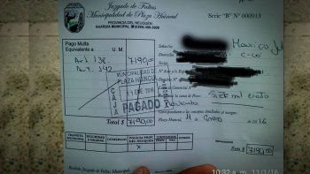 Un vecino de Plaza Huincul debió pagar casi 8 mil pesos de multa por conducir borracho.