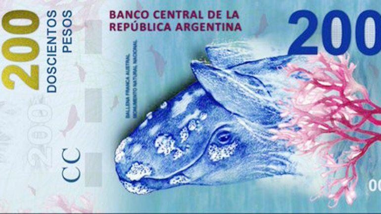 La ballena franca austral será la imagen del billete de 200 pesos.