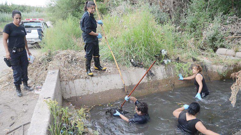 Bomberos y policías buscaron pistas ayer en el canal de riego.