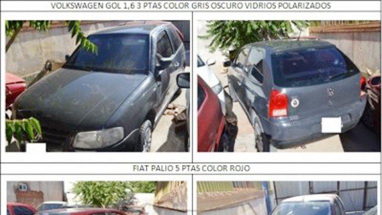 Los seis autos secuestrados durante los allanamientos del martes.
