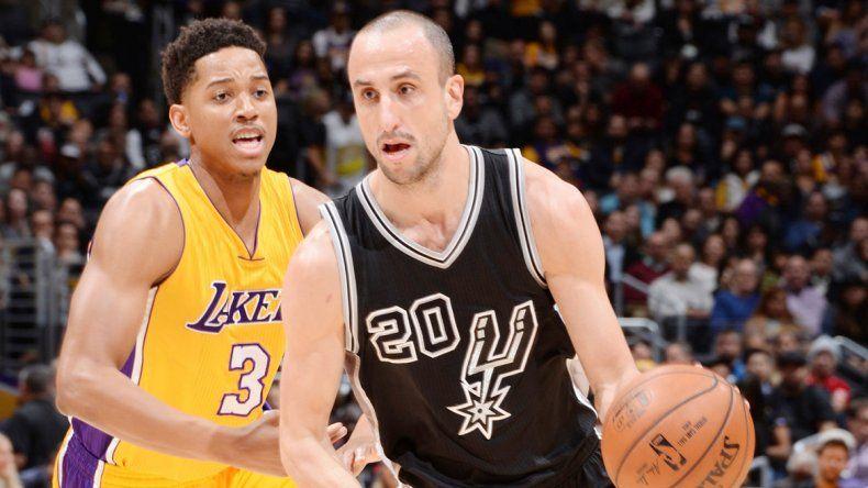 Manu Ginóbili la rompió antes los Lakers con 20 puntos y lujos.