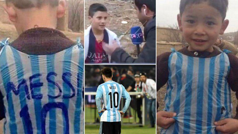 Polémica por un nene que se hizo una camiseta de Messi con una bolsa