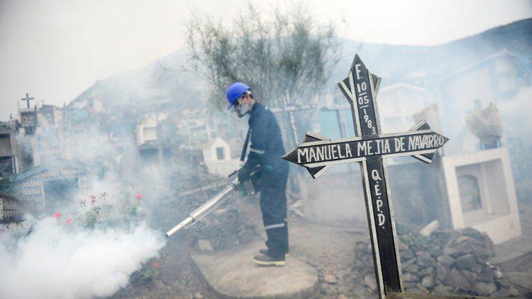 Agentes fumigadores en la capital carioca y en un cementerio.