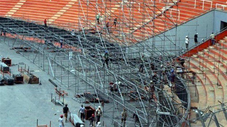 La inmensa estructura ya se está desplegando en el Estadio Único.