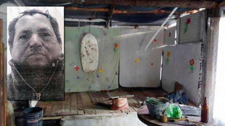 La precaria vivienda que ocupaba el grupo familiar. El prófugo (izq)