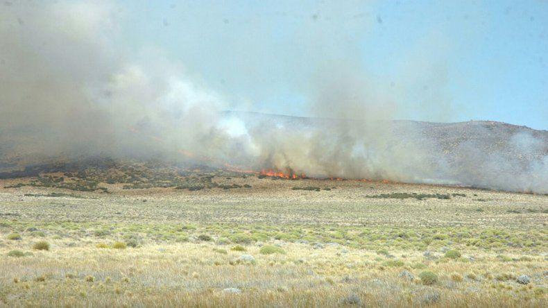 Brigadistas combaten un incendio cerca de Piedra del Águila