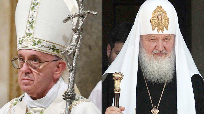 El papa Francisco. El patriarca Kirill de Moscú.