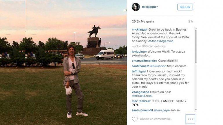 Mick Jagger caminó por las calles de Buenos Aires y fue furor en las redes