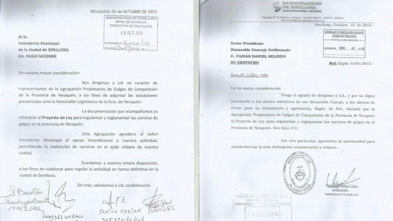 Las cartas que escribieron los galgueros al intendente y el pedido de Moenne al Deliberante.