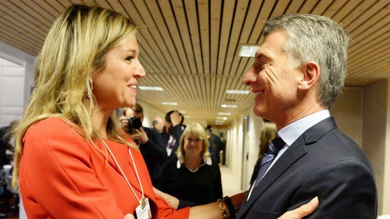 La reina Máxima y Mauricio Macri se vieron en Davos el mes pasado.