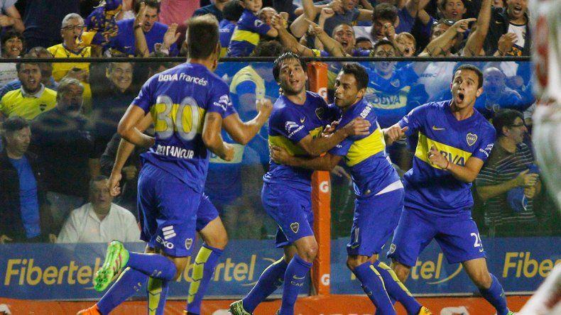 El festejo tras el primer gol