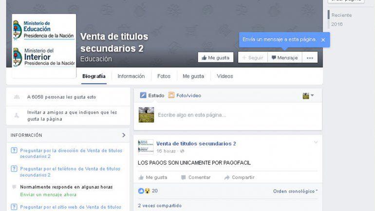La página de Facebook que ofrece títulos del nivel medio falsos.