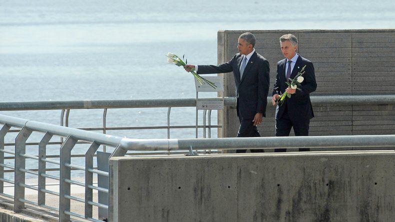 Obama y Macri recorrieron ayer el Parque de la Memoria.