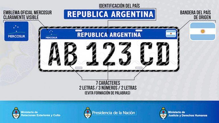 Así será la nueva patente que utilizarán los países del Mercosur.