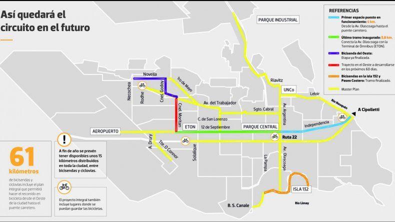 Plan integral de 61 km de bicisendas para la ciudad de Neuquén.