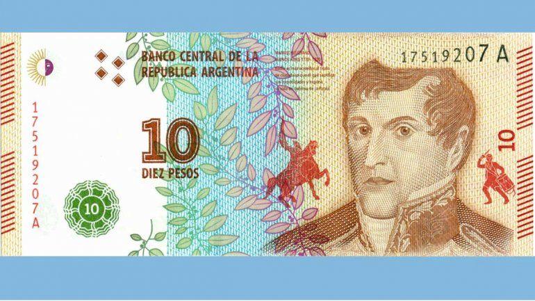 El nuevo billete de 10 pesos.