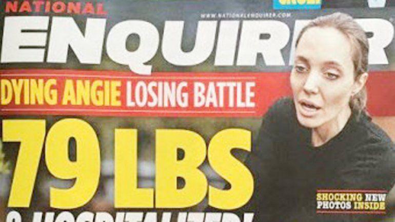 La portada de la publicación inglesa que refleja a la actriz de Maléfica con el rostro demacrado.