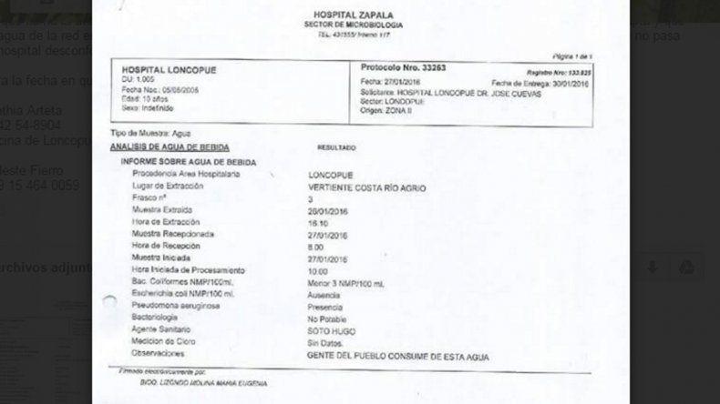 Análisis del río Agrio por el hospital de Zapala.