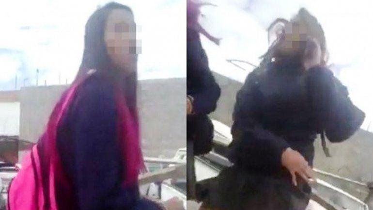 Imágenes captadas del video de la golpiza a una estudiante en Chubut.