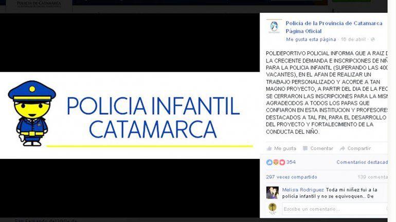 La convocatoria lanzada por la Policía se hizo a través de Facebook.