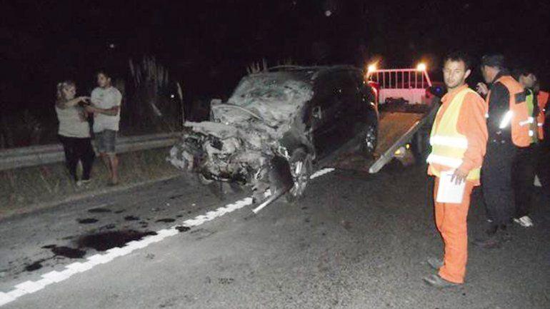 Así quedó el auto de Chano luego de colisionar con un camión en la Ruta 3