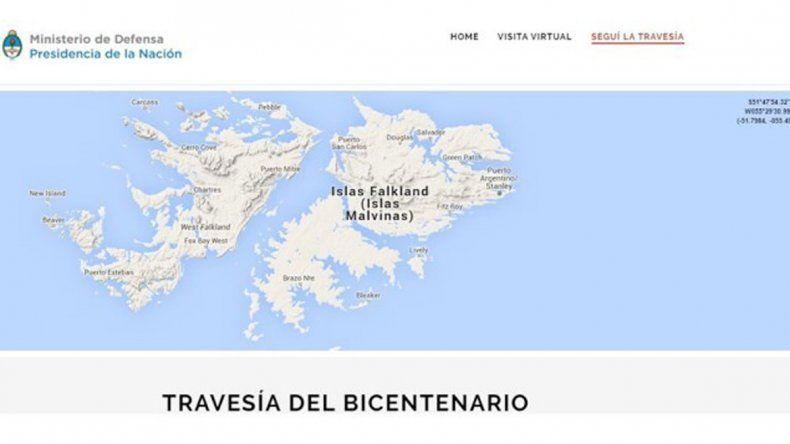 Un mapa de Defensa nombra a las islas como lo hace Inglaterra.