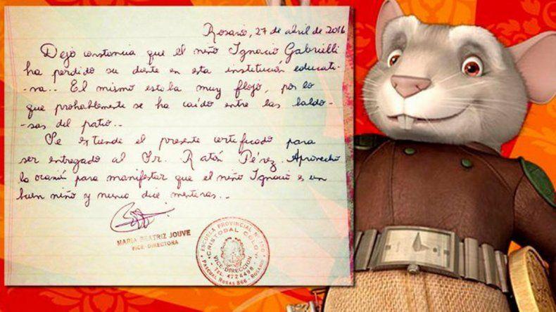 Tras la carta de la directora, el Ratón Pérez le dejó $400 al nene rosarino