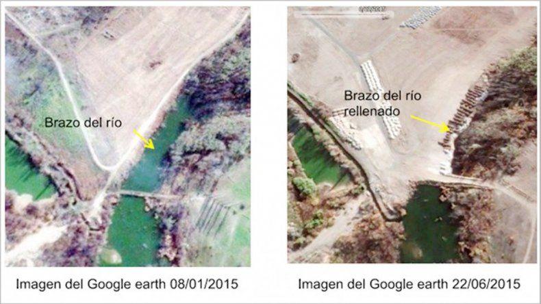 El brazo del río en enero de 2015.En julio de 2015 ya no hay brazo.