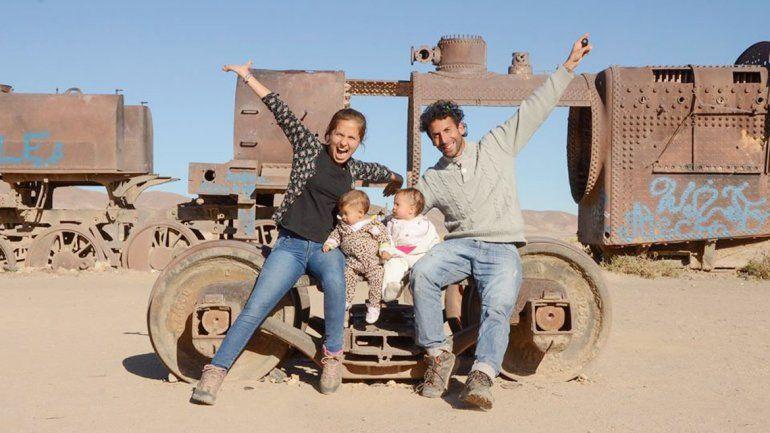 Las mellis viajeras y sus papás están de visita en Neuquén