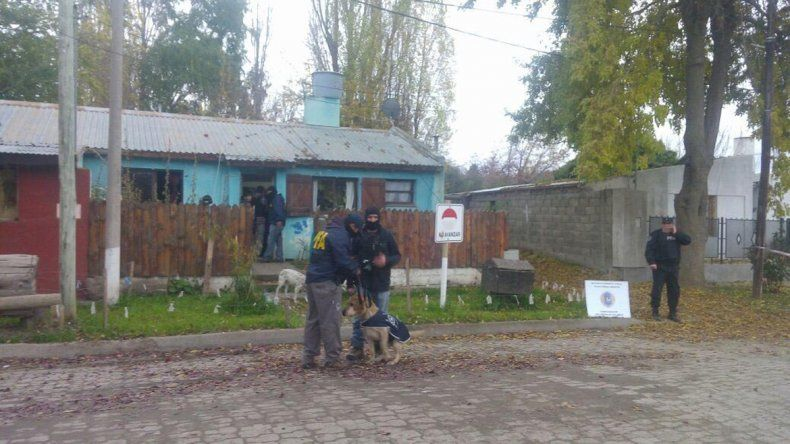 Ayer los efectivos de la Policía Federal allanaban el domicilio y revisaban lo secuestrado con ayuda del perro antinarcóticos.