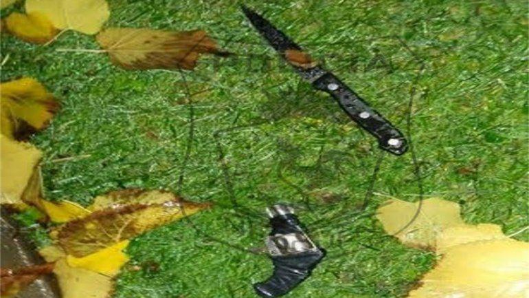Las dos armas quedaron tiradas en un jardín de la calle Francisco Jurado.