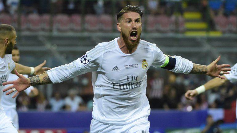 Ramos festeja el gol del triunfo parcial.