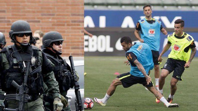 Brasil debió suspender el entrenamiento por un tiroteo en las cercanías del estadio.