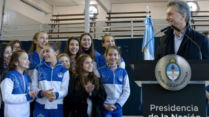 El presidente Mauricio Macri en el Club Social y Deportivo Juventud Unida.