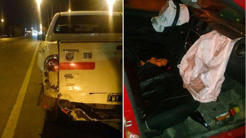 Así quedaron los vehículos luego del choque en Ruta 22 y Saavedra.
