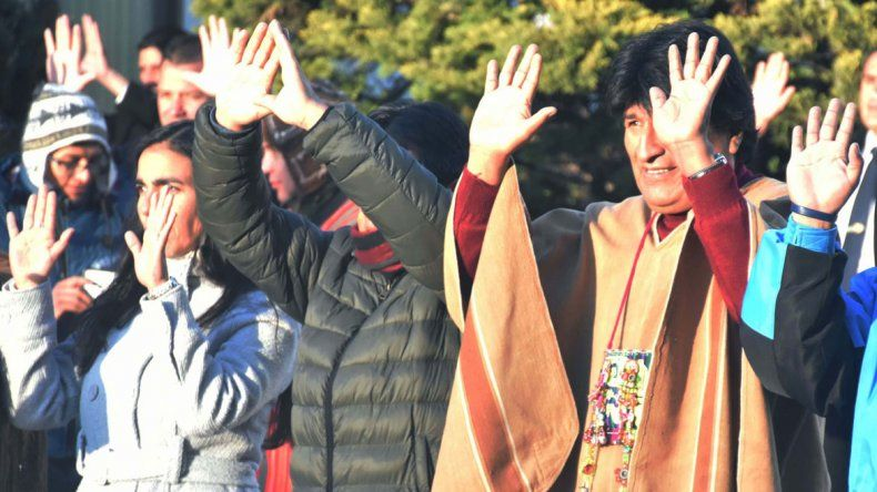Evo Morales celebrando ayer el solsticio de invierno en Bolivia.