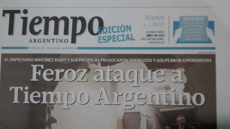Luego del ataque, salió una edición especial de Tiempo Argentino