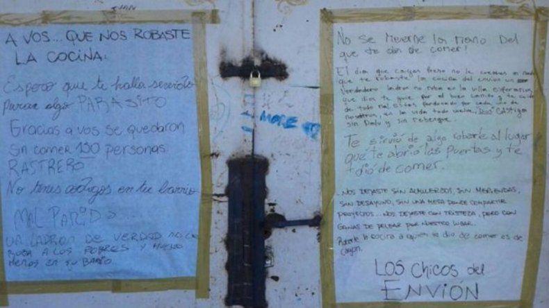 La carta a un ladrón que dejó a 150 chicos sin comer