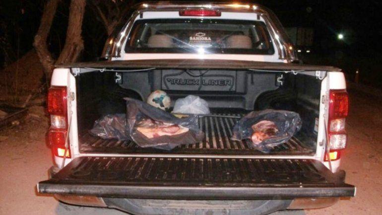 La camioneta Chevrolet S10 con la carne procedente de La Pampa.