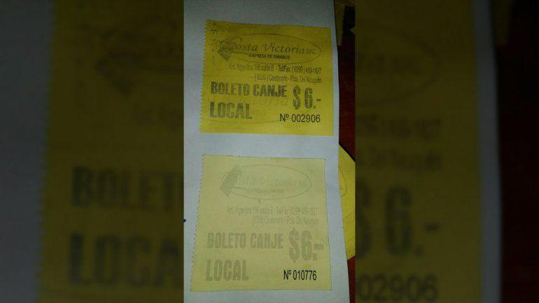Boleto trucho y original de la empresa Costa Victoria.