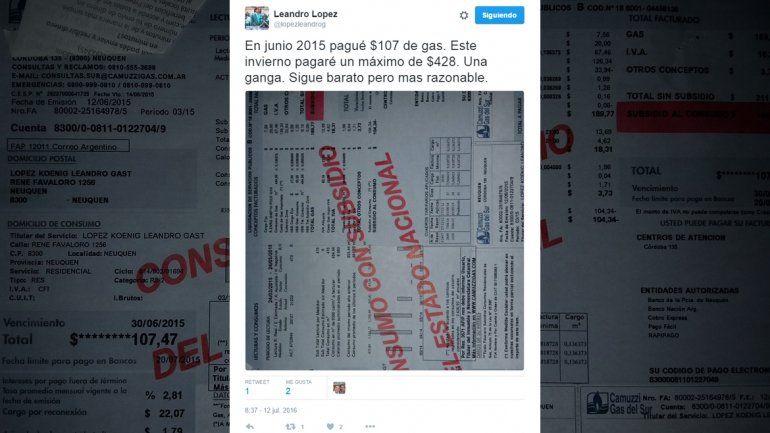 Leandro López bancó el tarifazo: Es una ganga