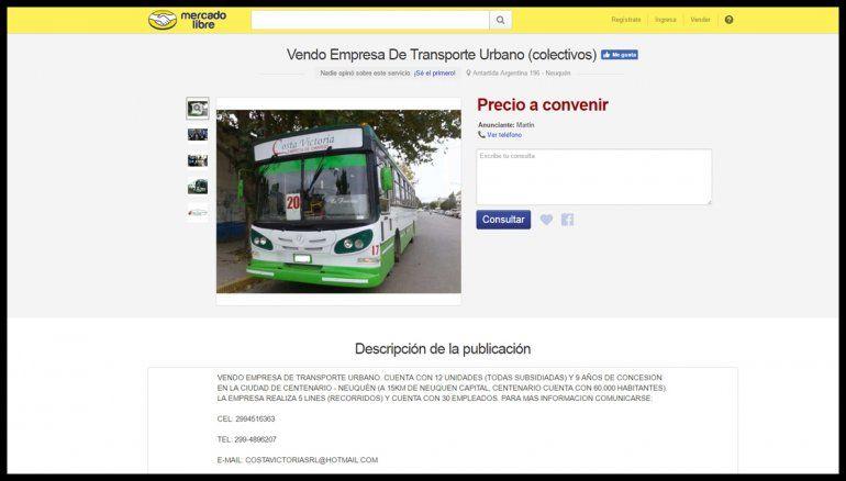 Insólito: venden la empresa de colectivos de Centenario por Mercado Libre