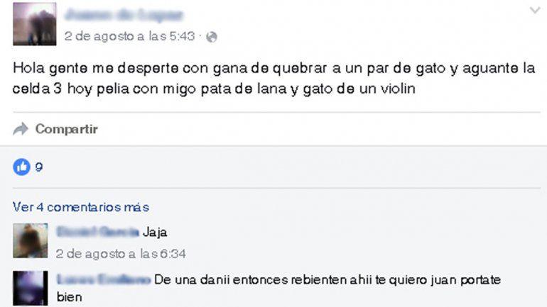 En los muros de Facebook de los presos se pueden ver las amenazas.
