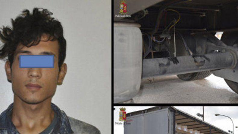 Un joven inmigrante viajó 400 kilómetros colgado bajo un camión