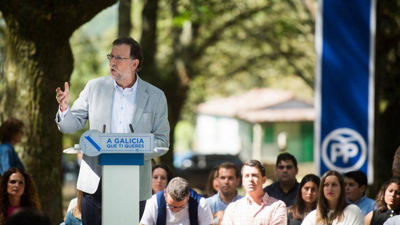 Rajoy presidió ayer un acto del Partido Popular en la región de Galicia.