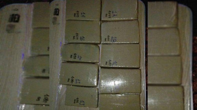 La marihuana secuestrada estaba fraccionada en panes.