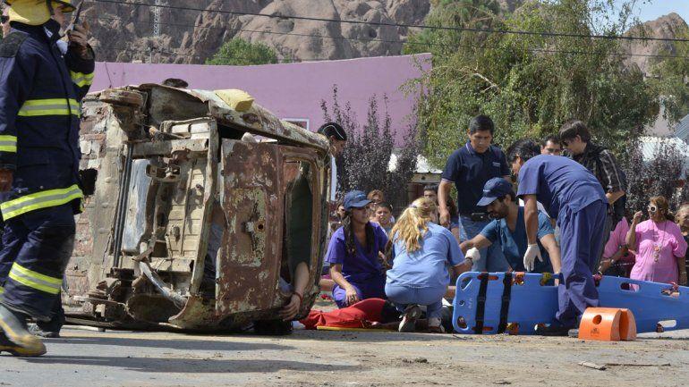 Simulacro de accidente de tránsito en el Oeste