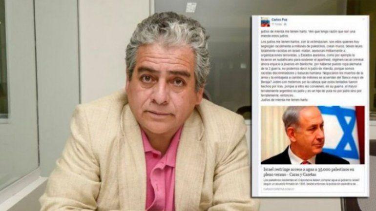 Carlos Paz informó que hizo una denuncia penal por el hackeo a su cuenta.