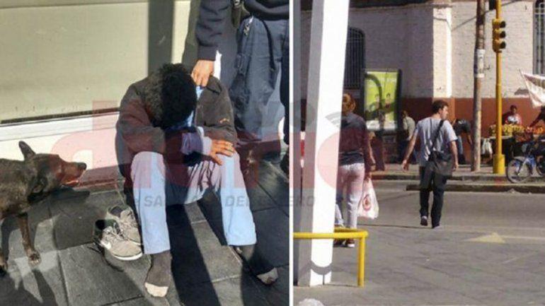 Un joven se conmovió y le donó sus zapatillas a un indigente