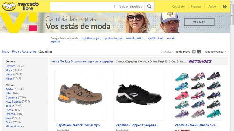 Promoción de calzado deportivo en un sitio web de compras.